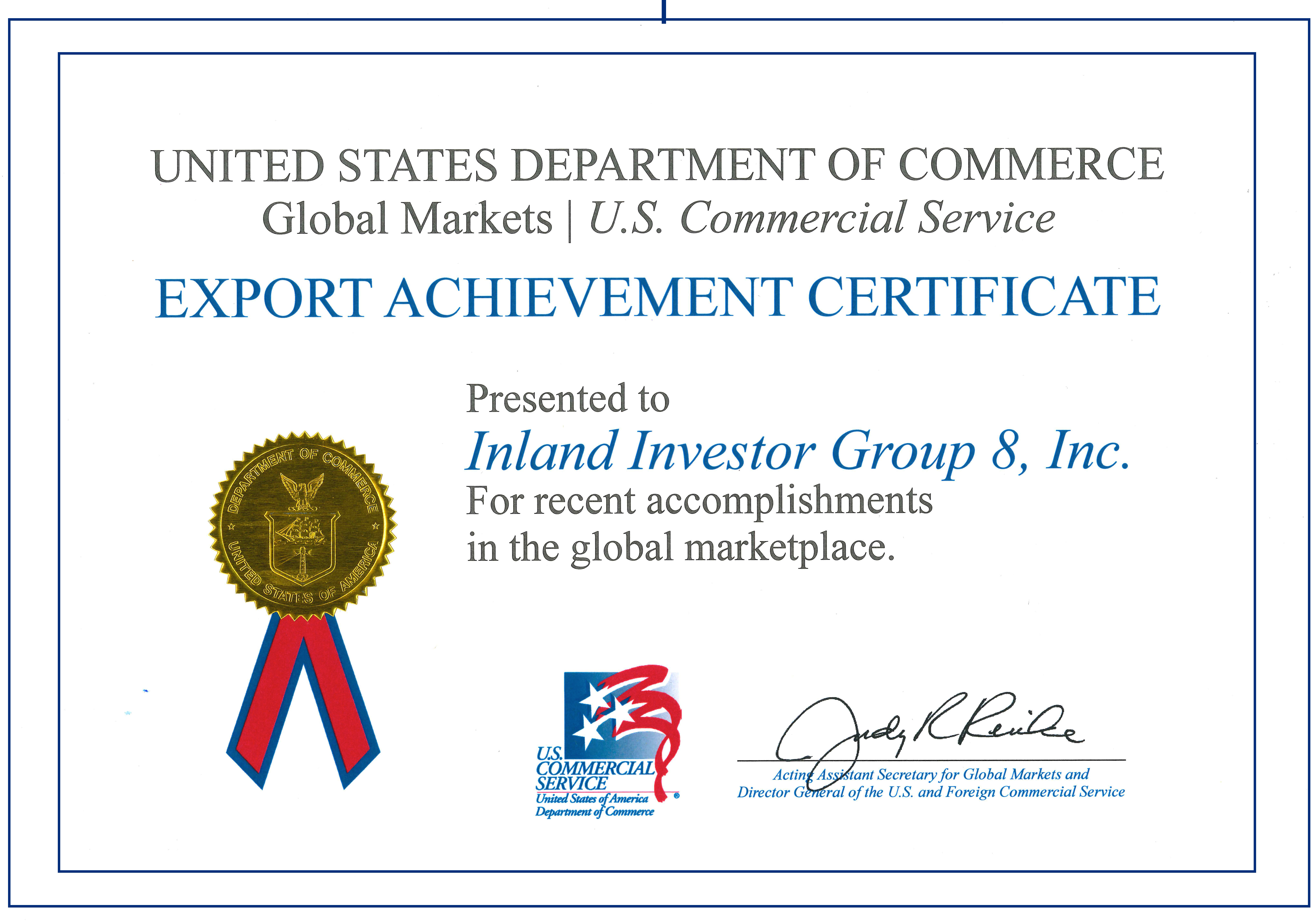 Inland Certificate - US Dept of Commerce May 2014
